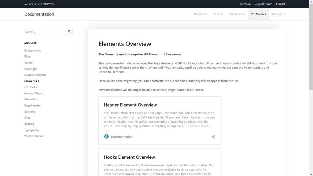 Elements GeneratePress Module Documentation