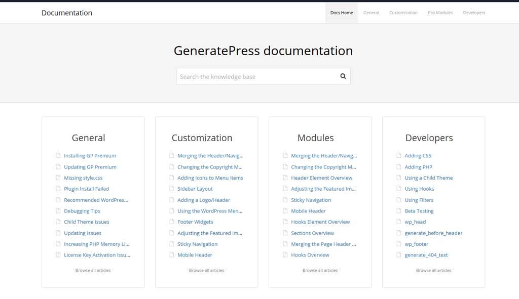 GeneratePress Documentation Library Website