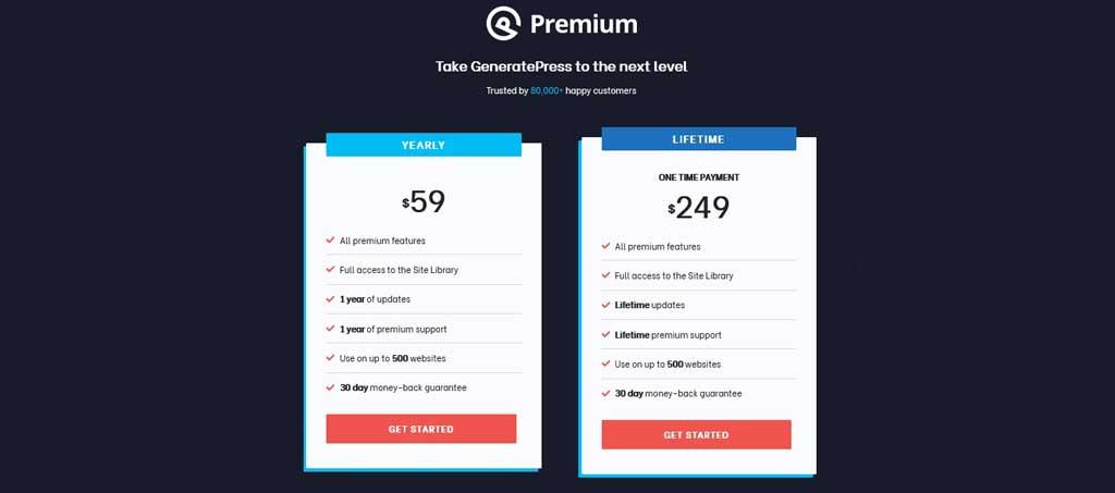 GeneratePress Premium Pricing Table