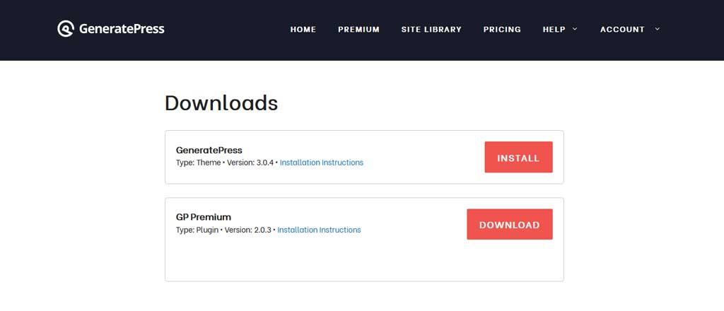 GeneratePress Premium Theme Download Page