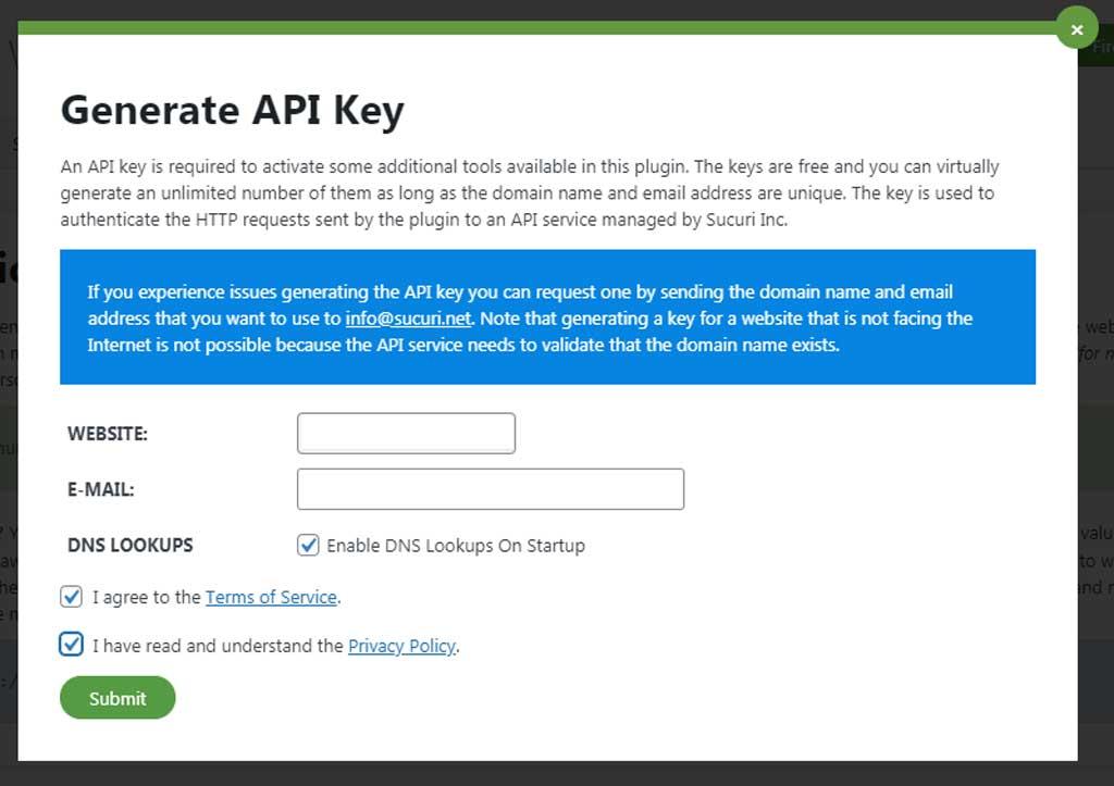 Sucuri API Key