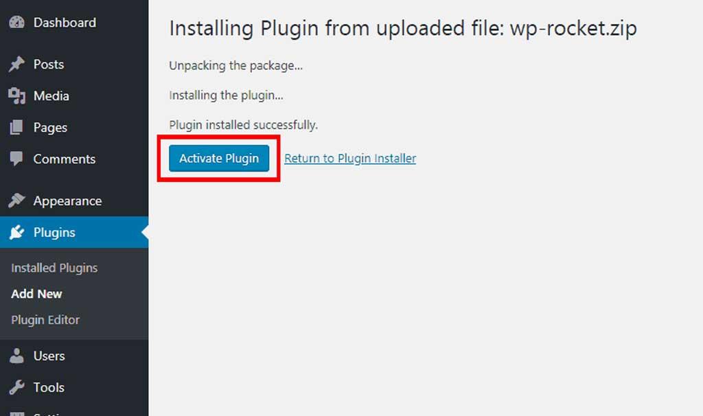 activate wp rocket wordpress plugin on wp-admin