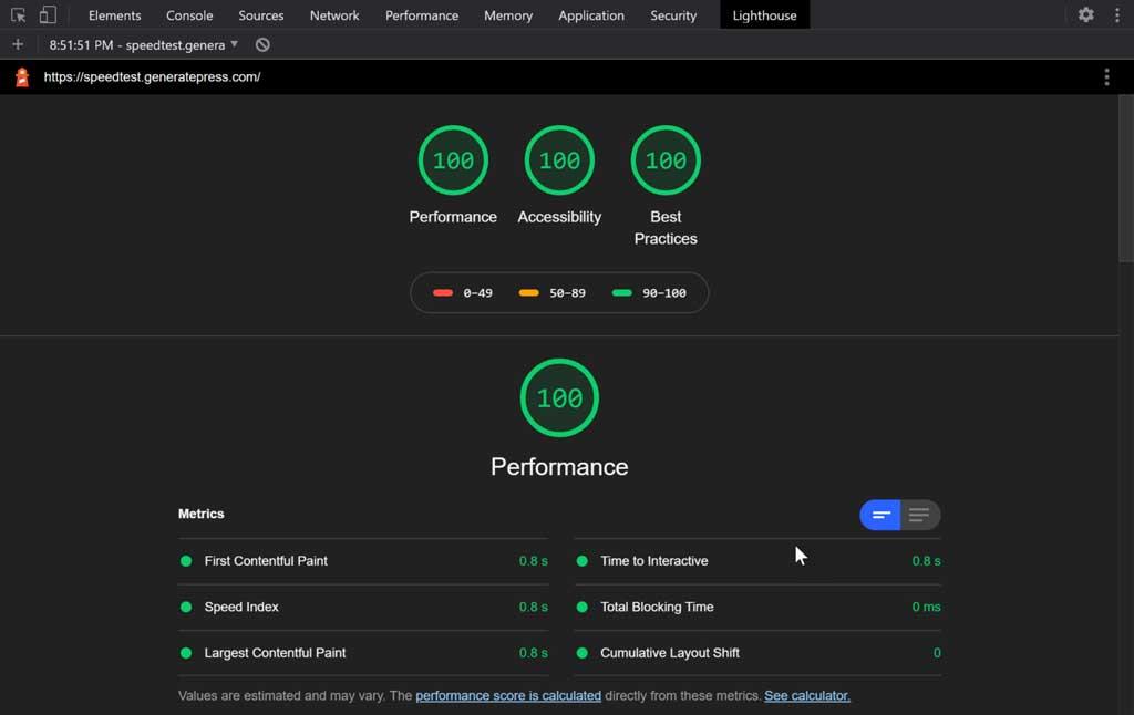 google lighthouse speedtest results for generalpress theme