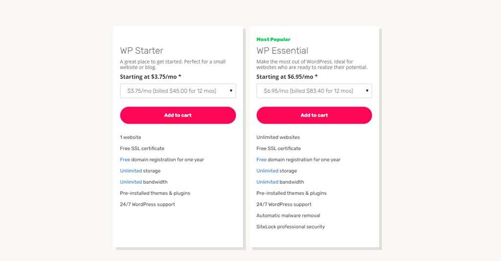 iPage WordPress Hosting Pricing