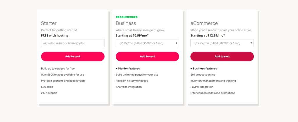 ipage website builder pricing