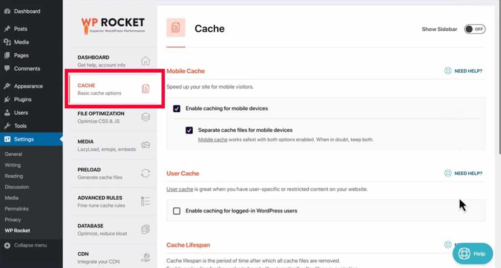 wp rocket basic cache options