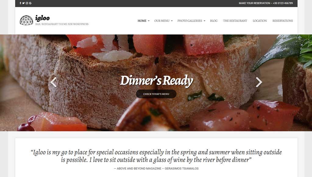 Igloo a beautiful WordPress theme for bars and restaurants