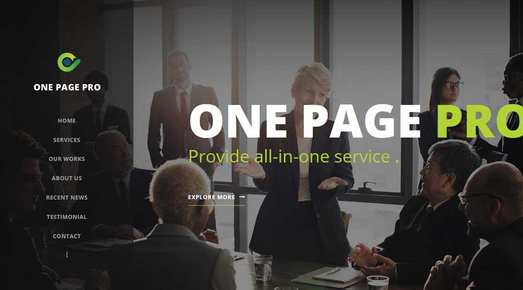 One Page Pro a single page multipurpose WordPress theme