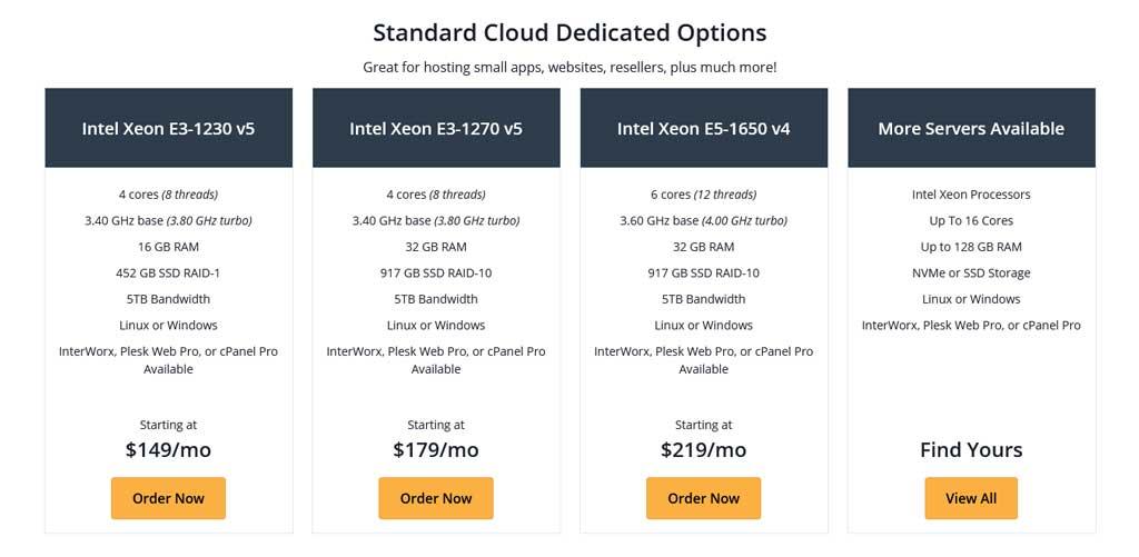 Standard Cloud Dedicated Options Pricing Plans