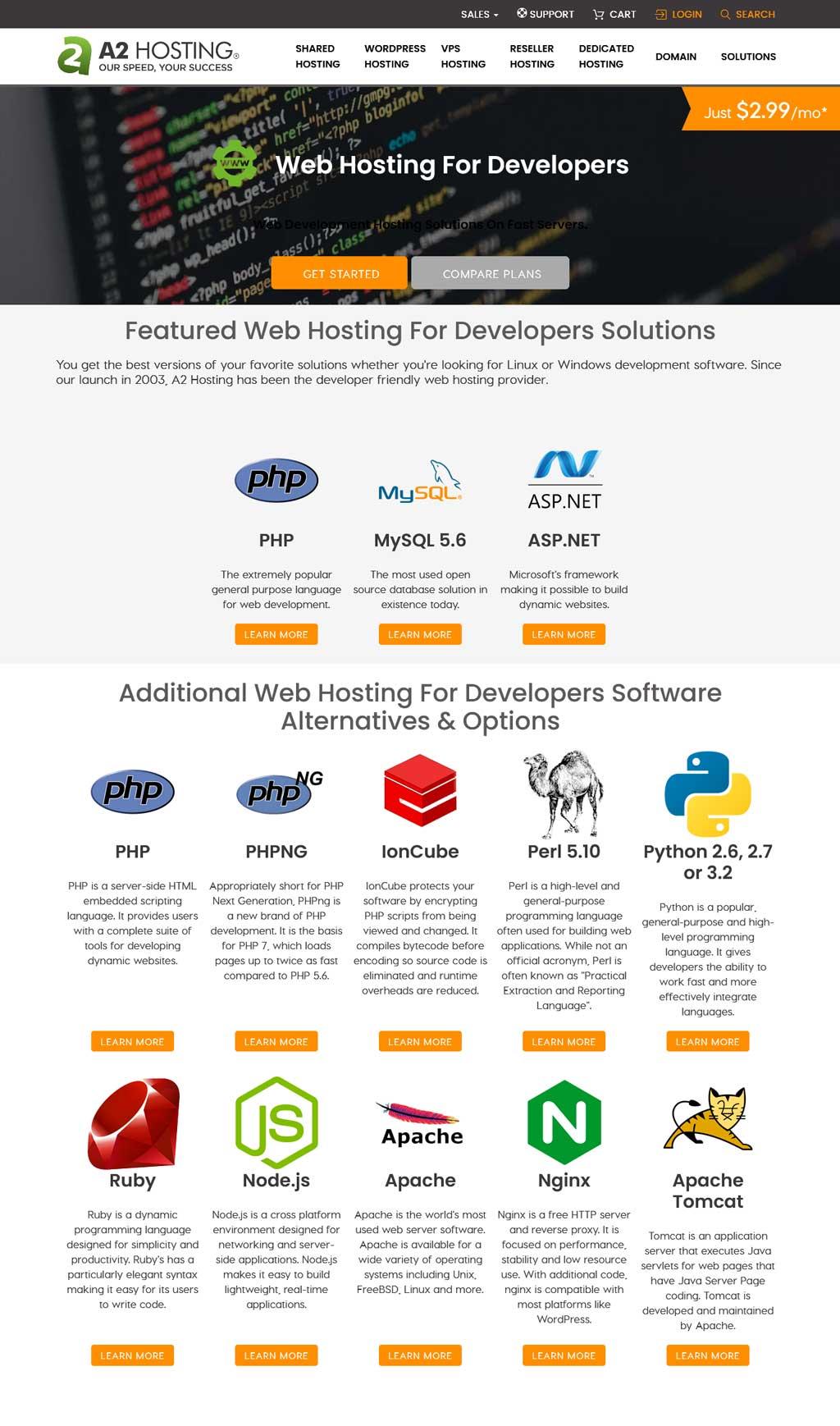 a2 hosting web hosting for developers