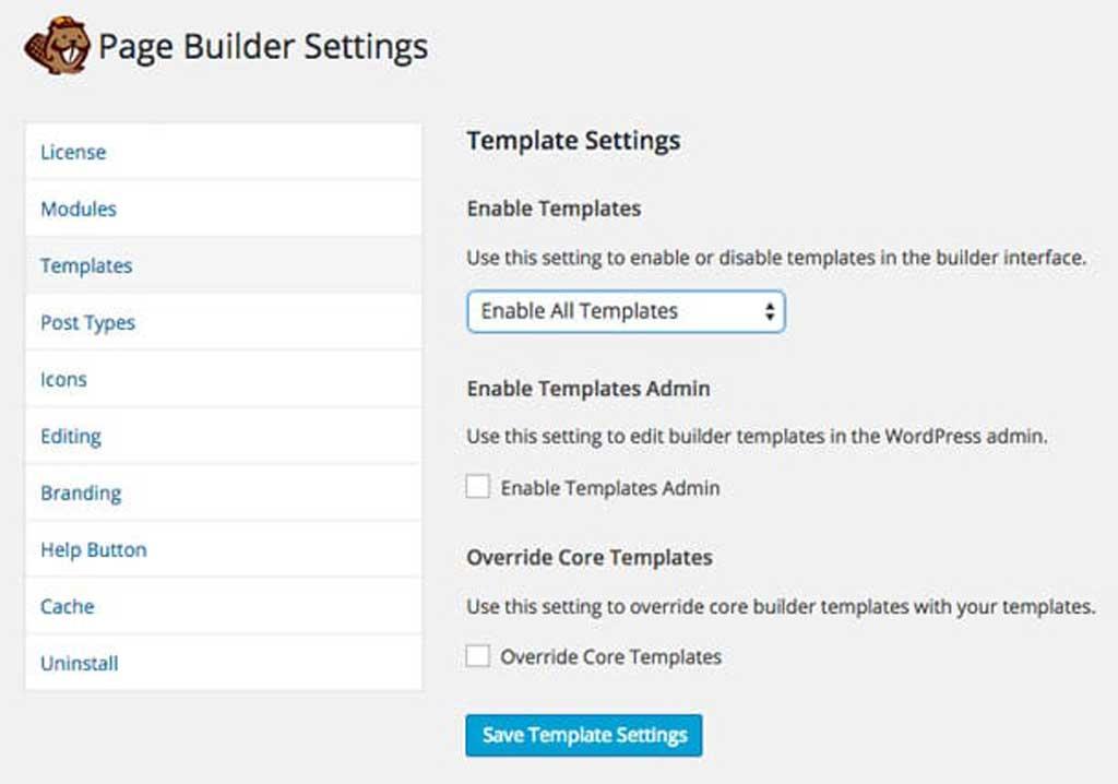 beaver builder templates settings