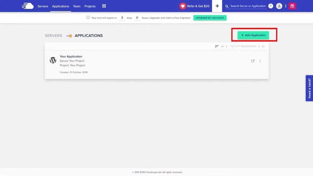 cloudways add application