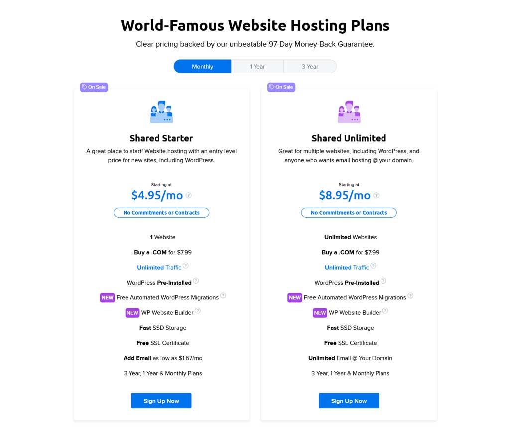 dreamhost shared website hosting pricing plan