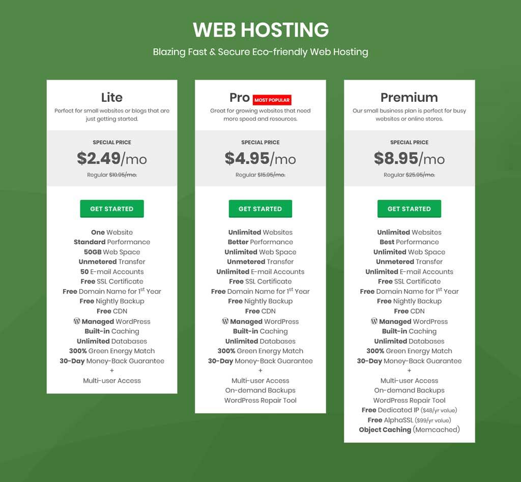 greengeeks web hosting pricing plan