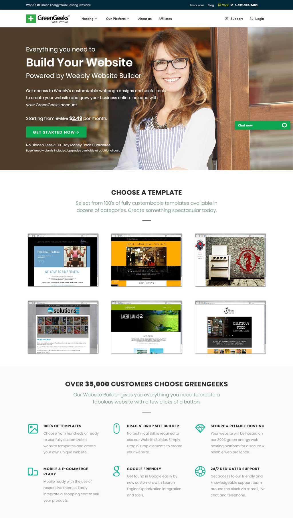 greengeeks website builder
