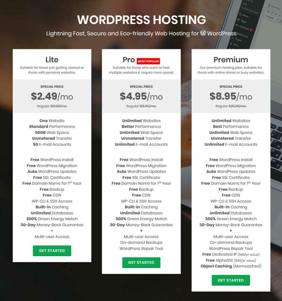 greengeeks wordpress hosting pricing plan