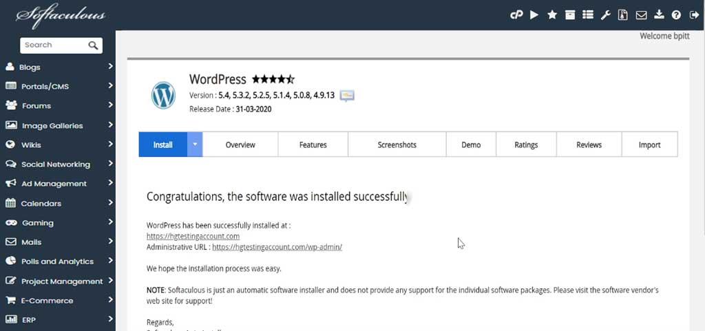 hostgator wordpress softaculous successfully install