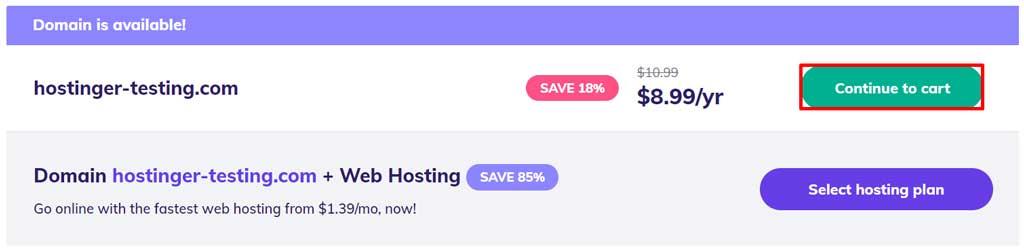 hostinger buy domain