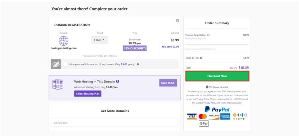 hostinger domain purchase