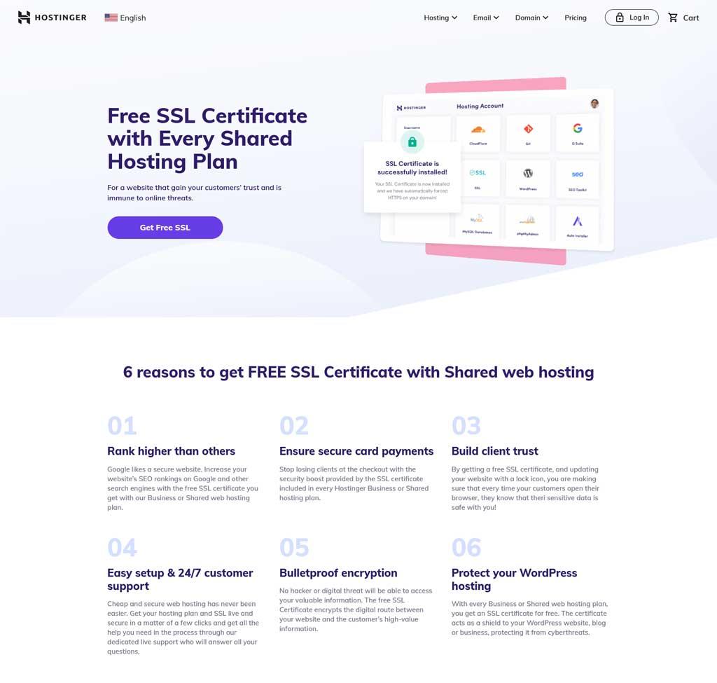 hostinger free ssl certificate
