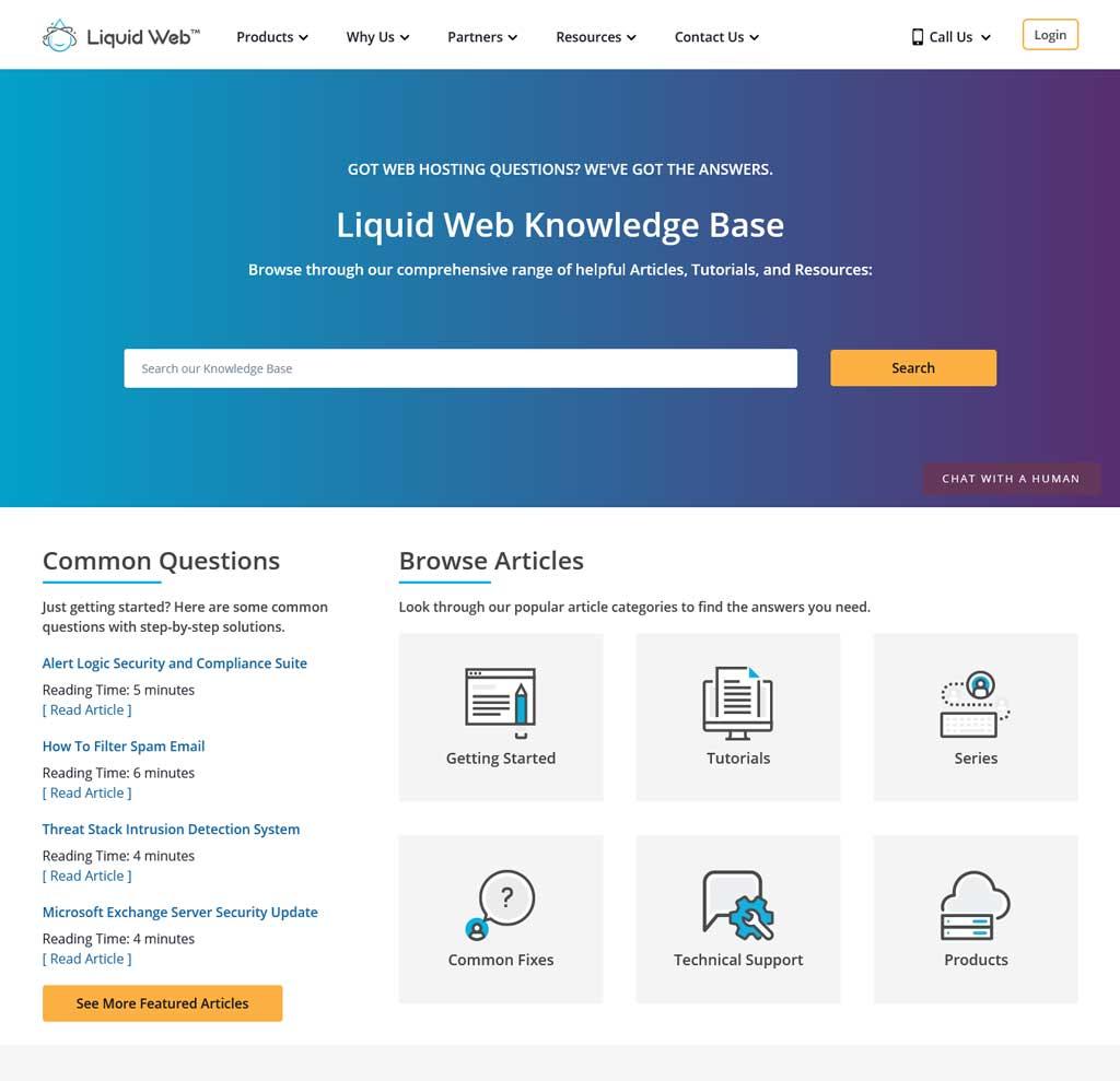 liquid web support