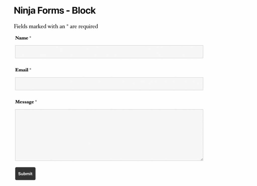 ninja forms contact form