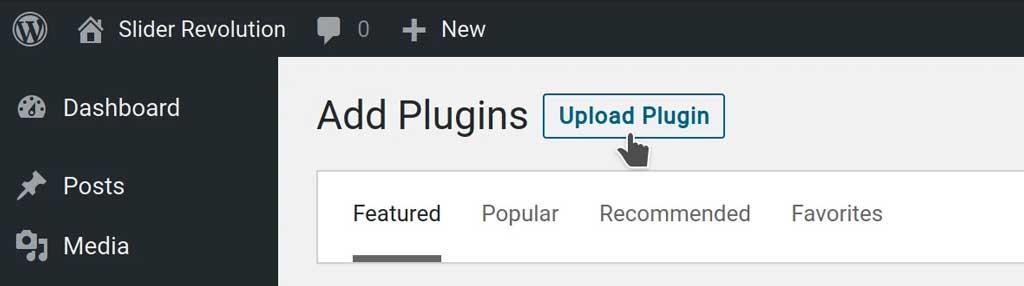 upload a plugin on the wordpress dashboard